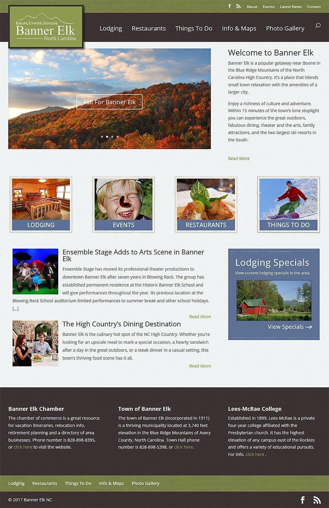 Banner Elk Client Portfolio Screenshot