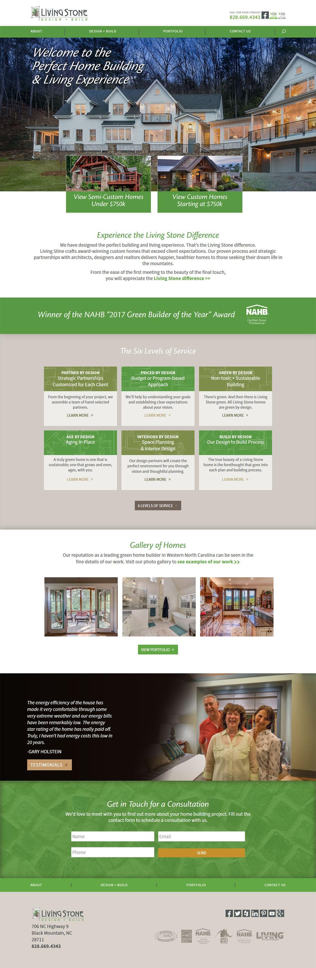 Living Stone Construction Client Portfolio Screenshot
