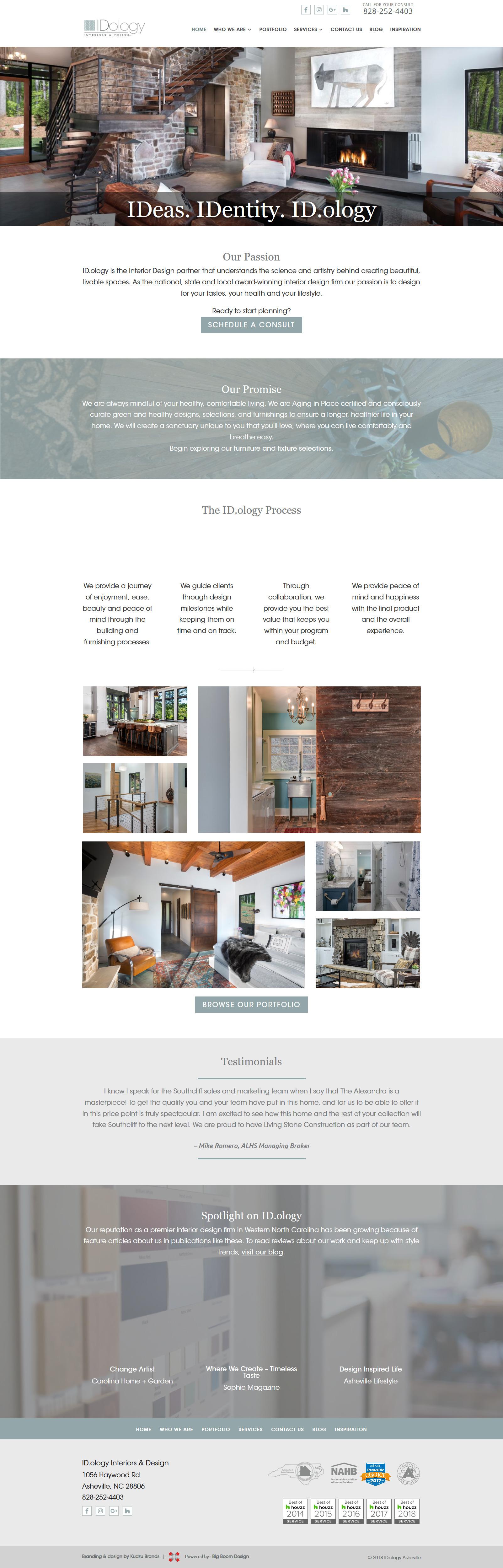 Screenshot of Homepage Design for IDology Interiors & Design