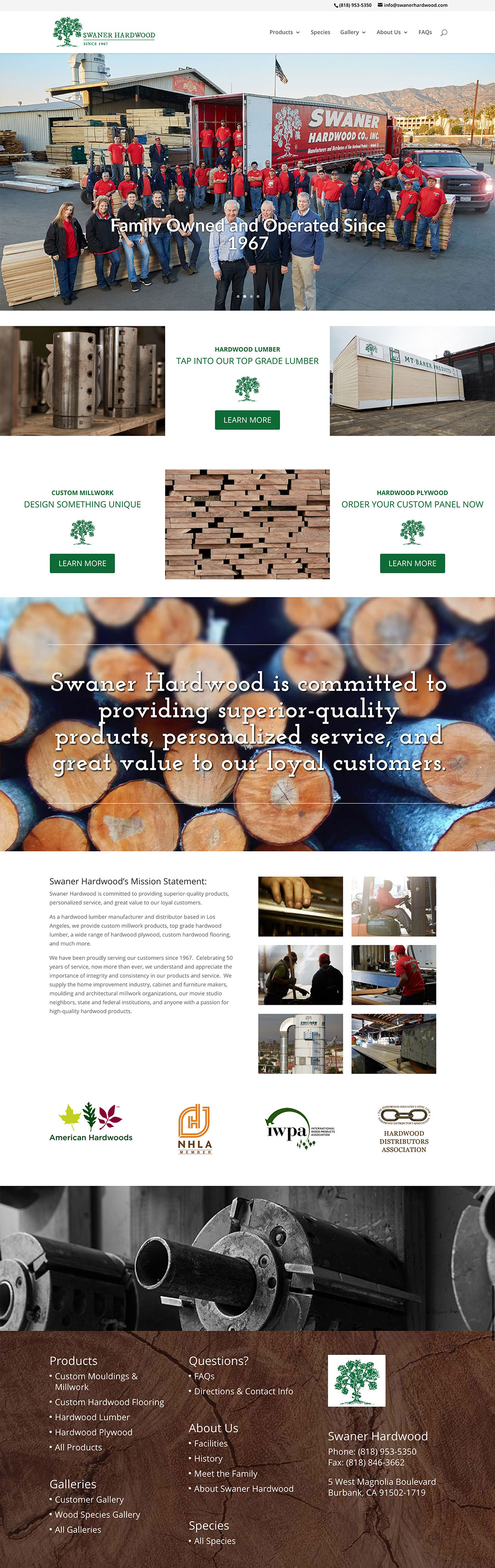 Swaner Hardwoods Client Portfolio Screenshot